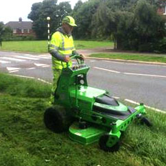 Photo of Eco-Friendly Electric Lawnmower used by Blue Claw Landscaping
